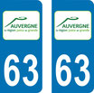 Lot de 2 stickers Auvergne  63 Puy de Dome