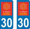 Lot de 2 adhésifs Languedoc Roussillon 30 Gard