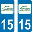 Lot de 2 stickers Auvergne 15 Cantal