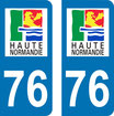 Lot de 2 stickers haute  Normandie n° 76 Seine maritime