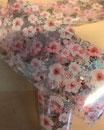 Blumenfolie  Weiss-Rosa Glittermetallic 100cm