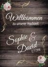 Schild oder Poster in Holz-Optik: Willkommen zu unserer Hochzeit