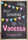 Schild oder Poster in Holztafel-Optik: Ab jetzt Schulkind - zur Einschulung