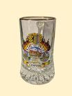 Sternbodenseidel/ Bierglas/ Bierhumpen 0,25 l, drei Motive mit Fahnen und Stadtwappen, Goldrand