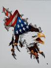 Adler mit Flagge