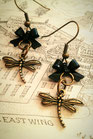 Steampunk Dragonfly earrings with Black Bows