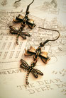 Steampunk Dragonfly earrings with bronze bows.