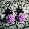Purple Rose Earrings with Black Bows