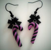 Pastel Goth Candy Cane Earrings