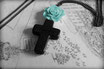 Black Cross Necklace with a Mint Rose