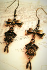 Steampunk Cuckoo Clock earrings with Bronze Bows