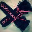 Black Lace Gloves with Pink Ribbon.
