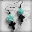 Black Cross Earrings with a Mint Rose