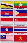 タイ & ASEAN 加盟国 国旗 ステッカー (THAI & ASEAN Flag Sticker 10P mix) L サイズ type A  - タイ アジアン 雑貨 スーツケース 旅行 グッズ -