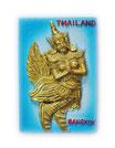 タイ王国 ガルーダ(Garuda) / ゴールド(金) バンコク タイランド 3D 立体 ハンドメイド マグネット type J (四角 青空 Jタイプ) 【タイ雑貨 Thailand 3D Hand made Magnet】