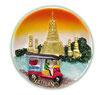 タイ王国  寺院 / 仏閣 + TUKTUK(トゥクトゥク)、 タイランド 3D 立体 ハンドメイド マグネット type L (丸型 夕焼け Lタイプ) 【タイ雑貨 Thailand 3D Hand made Magnet】