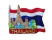 タイ王国 国旗 3D 立体 ハンドメイド マグネット type C (フラッグ+寺院 タイプ) 【タイ雑貨 Thailand 3D Hand made Magnet】