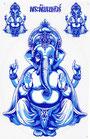 ガネーシャ  ステッカー (GANEZA Sticker  Blue type) L サイズ (ブルー タイプ)  1枚 【タイ雑貨 Thailand Sticker】