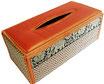 タイシルク アジアン ティッシュ ボックス ケース オレンジ 【Elephant design, Orange】