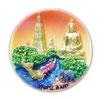 タイ王国 寺院 / 仏閣 +エレファント(象・ぞう)+リバー タイランド 3D 立体 ハンドメイド マグネット type E (丸型 夕焼け Eタイプ) 【タイ雑貨 Thailand 3D Hand made Magnet】