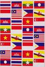 タイ & ASEAN 加盟国 国旗 ステッカー (THAI & ASEAN Flag Sticker 32P mix) L サイズ type A  - タイ アジアン 雑貨 スーツケース 旅行 グッズ -