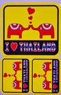 タイ王国 象 ハート 「アイ・ラブ・タイランド」 ステッカー(I LOVE THAILAND Sticker 3P mix A) L サイズ - タイ アジアン 雑貨 スーツケース 旅行 グッズ -