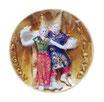 タイ王国 伝統舞踊 3D 立体 ハンドメイド マグネット type F (民族衣装 ペア ×ゴールド 丸型 タイプ) 【タイ雑貨 Thailand 3D Hand made Magnet】