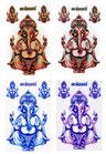 【コンプリートセット】ガネーシャ  ステッカー (GANEZA Sticker ) L サイズ ( ゴールド , シルバー , ブルー , ピンク )  お得な4点セット 【タイ雑貨 Thailand Sticker】