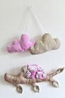 Mobile décoration chambre bébé hiboux rose parme doré nuages fait main l' Arche de Jessica