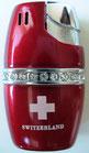 "Gas-Feuerzeug ""Diamond"", rot, mit CH- Kreuz"