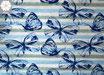 Stoff B12 - Jersey weiß/blau gestreift Schmetterlinge