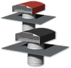 Chapeau de toiture métallique rouge Ø125