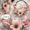 Kopfschmuck Band Boheme Blumen Reihe creme rosa