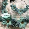 Kopfschmuck Band Boheme Blumen Reihe türkis blau