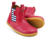 Bottes I-Walk cuir rouge élastique rayé bleu/blanc, Bobux