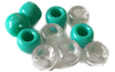 Kunststoffperlen in Blaugrün/ Perles bleuvert