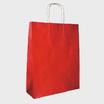 Bolsa asa trenzada kraft verjurado fondo rojo, asa kraft, impresa en serigrafía una tinta dos caras