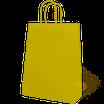 Bolsa asa trenzada celulosa fondo amarillo, asa blanca , impresa en serigrafía una tinta dos caras