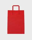 Bolsa asa plana celulosa blanca fondo rojo