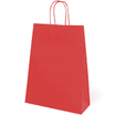 Bolsa asa trenzada celulosa fondo rojo, asa blanca