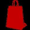 Bolsa asa trenzada celulosa fondo rojo, asa blanca , impresa en serigrafía una tinta dos caras