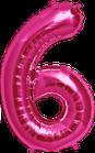 Zahl 6 Folienballon pink