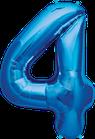 Zahl 4 Folienballon blau