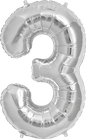 Zahl 3 Folienballon silber