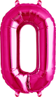 Zahl 0 Folienballon pink