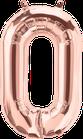 Zahl 0 Folienballon rosegold