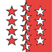 Wallis / Valais Fahne mit eingesetzem Wappen