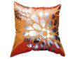 タイシルク クッションカバー  フラワー デザイン オレンジ 【橙】  【Flower Design , Orange / Thaisilk Cushion Cover】 45×45cm 対応