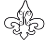Fleur de Lis Initial-Powder Coated Black