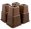 Design61 4er Set Bett - Erhöhung Kunststoff in Braun Holz-look